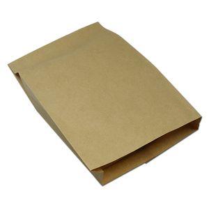 200 adet 14 * 4 * 20 cm Kahverengi Kraft Kağıt Yağ Geçirmez Çanta Gıda Ambalaj Gözleme Kızarmış Cips Tavuk Hamburger Aperatif ...