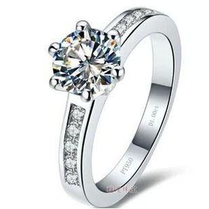 Envío gratis Fine Wholesale - Certificado de GIA de los EE. UU. 1 kct, auténtico anillo de diamante sona 18 K taladrado de simulación de oro alto conjunto diamante blanco