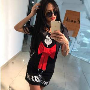 2016 Summer Cartoon Letter Character Print Red Bow Dress Casual O-neck Short Sleeve Dresses Vestidos Fashion Loose Women Dress Plus Size XL