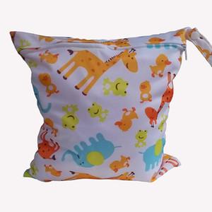 서클 동물 인쇄 기저귀 젖은 / 드라이 가방 세탁 가방 천 기저귀 가방 젖은 수영복 가방 Melee WetBag 28 * 30cm
