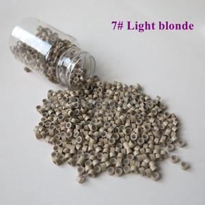 En gros 1000pcs / bouteille 5 * 3 * 3mm 7 # Blond clair aluminium micro silicone anneaux / liens / perles en aluminium blond pour les extensions de cheveux humains de plume