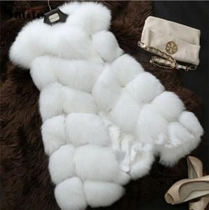 Atacado-Senhoras Outono e Inverno Quente Faux Rabbit Fur Vest Casaco Plus Size Grande Grande Falso Pele De Raposa Sem Mangas Colete Jaqueta