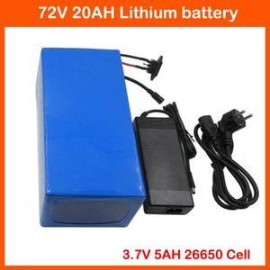 2500W 72V 20AH Batería de litio 72V 20AH Batería de bicicleta eléctrica 72V 20S Batería Use 3.7V 5000MAH 26650 Celda 40A BMS y cargador 2A