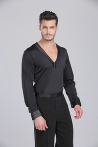 2018 Custom-fazer homens / Dance Latin Boys' Vestido camisa Ballroom Rumba Samba Cha-cha Adulto / crianças dança veste Prática Latina Tops