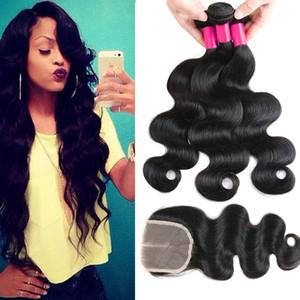 7А бразильский перуанский Индийский Малайзии волос 3Bundles с закрытия шнурка необработанные человеческих волос Weave бразильского объемная волна Виргинские волосы