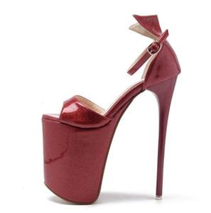 23cm Super alta piattaforma Gold Shoes Wedding Shoes Donne Pompe Sexy Lady Dance Shoes Party Queen Size da 34 a 40