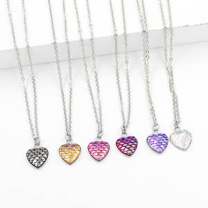 Fashion 12mm Druzy Drusy Collana in acciaio inossidabile Heart Love Fish Scale Collana Iridescent Shimmery Mermaid Scale Necklace