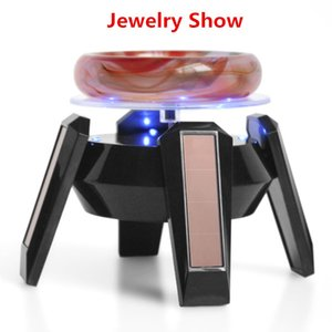 Best black and White Jewelry Stand Phone Rotating Display shelf Turn Table with LED Light Jewelry holder free shipping