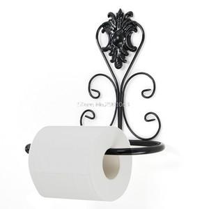 Atacado- Ferro Vintage rolo de papel higiênico Toalha Titular Bathroom Wall montagem em rack preto Hot H06