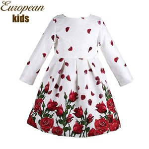 Bebek Kız Elbise Bahar Marka Prenses Elbise Kız Bornoz Enfant Fille Gül Çiçek Baskı Çocuklar Kızlar için Elbiseler Giysileri 3-8Y