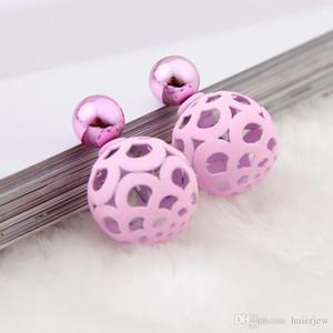 Jolies boucles d'oreilles blanches superbes perle d'eau douce de mode bijoux de soirée en or deux côtés double boucles d'oreilles rondes naturelles