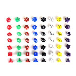 7pcs Set Resin Polyhedral TRPG Games For Dungeons Dragons Opaque D4-D20 Multi Sides Dice Pop for Game Gaming Toy 2507015