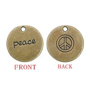 Encantos del colgante de la paz chapado en bronce antiguo redondo de 19 mm de doble cara con el signo de la paz y la paz estampado AAC181