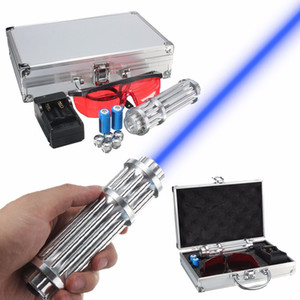 5w Power Blue Light Penna puntatore laser regolabile Focal Point Visible Beam Modulo laser di qualità 445nm-450nm + Charger + Goggles