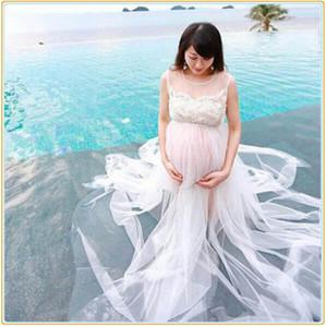 Sommer Stil Weiß Chiffon Mutterschaft Langes Kleid Schwangere Fotografie Requisiten Phantasie Schwangerschaft Foto Schießen Strand Spitzenkleid
