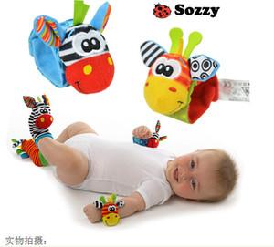 2016 Hot New sozzy bebé calcetines de animales correa de muñeca correa / anillo de la correa sonajeros de bebé juguetes recién nacidos al por mayor