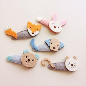 2017 New Girls Mode BB Barrettes 30pcs / lot Cartoon Animals Forme Kid clips de tissu en feutre Fox Chien Chat Ours Tête de lapin Conception