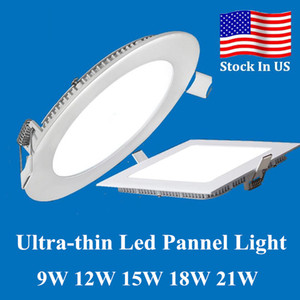 Lampes de panneau LED de 9W / 12W / 15W / 21W / 21W Downlights encastrés Lampe ronde / carrée Lumières LED pour lumières d'intérieur 85-265V + pilote à LED