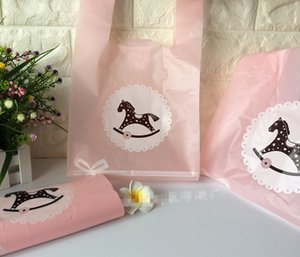100pcs lot Pink horse Cartoon Small Gift Bag Hand Bag 20*35cm  25x42cm Bags with Handle Plastic bags pouch Carrying Bag