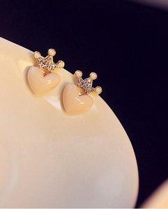 Spedizione gratuita Mellow Pink Crystal Crown Peach Heart Love Orecchini Orecchini di perle HJIA862