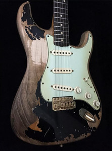 Custom Shop John Mayer تحية Strat Strat Black 1 John Cruz Masterbuilt Heavy Relic St Electric Guitar Netrolacquer Paint، الذين تتراوح أعمارهم بين أجهزة الكروم