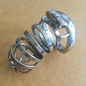 Aço inoxidável NOVO Super pequeno Male Chastity Belt Adulto pica gaiola com dispositivo Cock Ring Sex Toys Bondage Chastity em forma de arco
