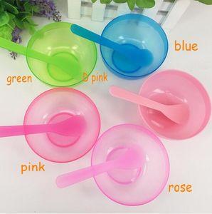 Plastik 2 1 Makyaj Güzellik Maskesi Kaseler 5 Renkler Yüz Maskeleri için Yüz Maskesi Kase DIY Araçları