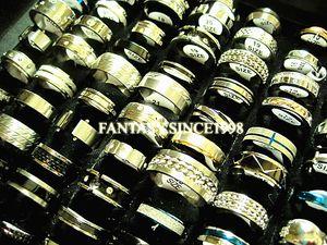 Novas 100pcs / lot misturar estilos diferentes top jóias anéis de aço inoxidável da forma Stock casamento dos homens das mulheres