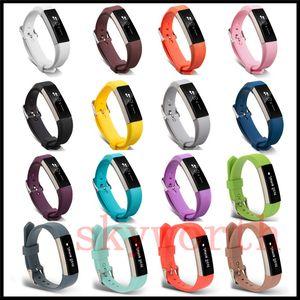 새로운 교체 손목 밴드 팔찌 실리콘 실리콘 스트랩 핏 비트 알타 HR 스마트 시계 팔찌 (17) 컬러 버클 스마트 acccessories