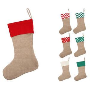 12 * 18inch haute qualité 2017 toile Noël bas cadeau sacs toile Noël De Noël bas Grande Taille Plain Toile De Jute chaussettes décoratives sac