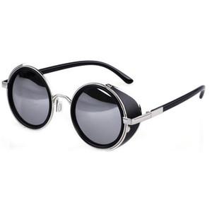 Atacado-Verão Estilo Vintage Redondo Unisex Óculos Moda Steampunk Metal Mens Womens Círculo Óculos De Sol 6 Cores GS-0207