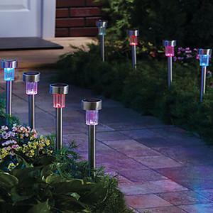 10 unids / lote Luz de Césped Solar de Acero Inoxidable para Jardín Decoración 100% Energía Solar Lámpara Al Aire Libre Luminaria