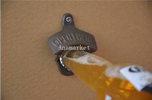 Abrebotellas de cerveza de pared abierto aquí Abrebotellas de cerveza de pared montado Fundido Bronce Retro Abridor Barra de cocina Herramientas 50 unids