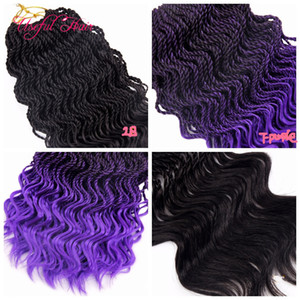 Frete grátis primavera onda Pre-Torcida Senegalês Tranças De Crochê cabelo 16 polegadas meia onda kinky curly hair extensions cabelo trança sintética