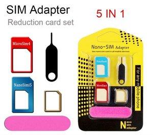 Aluminium Métal Nano Adaptateurs De Carte 5 en 1 Micro Sim Stander Outil De Carte Sim pour iphone 6s 5s tous les appareils de téléphone cellulaire