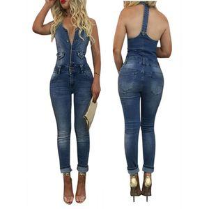 All'ingrosso 2017 di estate di modo casuale delle donne denim tuta senza maniche Bottoni Slim lungo le tute Tuta partito pagliaccetti dei jeans Femme SN
