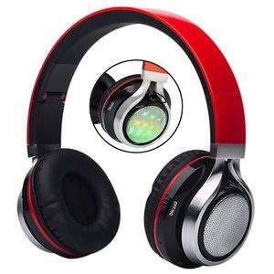Faltbare Musik Pluse LED-Beleuchtung Bluetooth-Kopfhörer AB-005 LED leuchtende Stereo-Kopfhörer TF-Karte Player FM-Radio mit Mikrofon HIFI MP3-Headsets