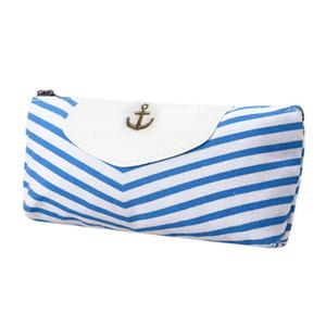 Wholesale- Indira 2016 New Fashion Women Bags Navy Canvas Envelope Pen Pencil Case Coin Purse Pouch Female Bag