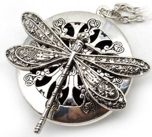 5pcs Dragonfly Design Lockets Vintage Essential Oil Diffuser Necklace Aromatherapy Lockets Pendant For Christmas Gift EXL405