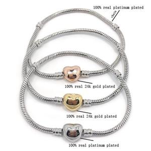 Nueva calidad de alta calidad 100% plateado chapado en cadena de serpientes 100% 24k chapado en oro en forma de corazón brazalete de bracelete de faja pandora pulsera bricolaje