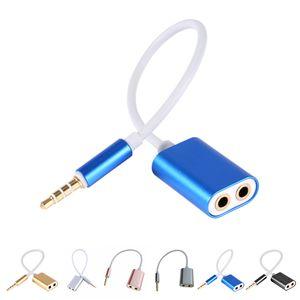 Aluminium 3.5mm Male 1 to 2 Female Audio Headphone Splitter Cable Adapter الأزواج الأصدقاء تقاسم العناصر الموسيقية استريو كابل الصوت