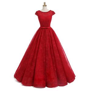 Scoop Neckline 반팔 구슬 레이스 긴 플러스 사이즈 공 가운 댄스 파티 파티 가운 레드 레이스 이브닝 드레스
