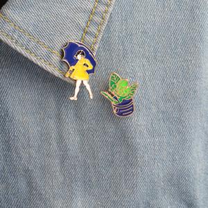 Broches en émail dur Petite fille avec un parapluie plante en pot bijoux mignons pour les filles les filles des femmes Broches et broches