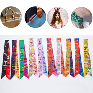 Женщины шарф печатных сумочка шелковая лента обертывания банданы лук полосы волос Украшения 10 Стиль на складе WX-C70