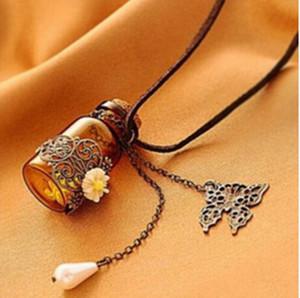 """Botella de cristal Aromaterapia Esencial Aceite Difusor Collar Locket Joyería Colgante con Cadena de 24 """"y 3 Lavable NE577"""