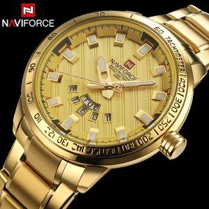 NAVIFORCE homens relógio de ouro relógios homens esporte aço completo relógio de quartzo homem 3ATM relógio militar à prova d 'água relógios de pulso