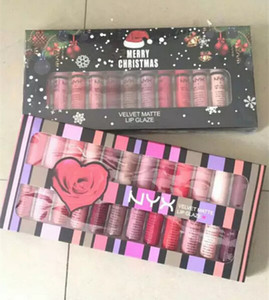 Brand New NYX Velvet Matte Glaze Lipstick Merry Christmas Set 12 Nuances Édition Normale Gloss Brillant Ensemble Livraison Gratuite