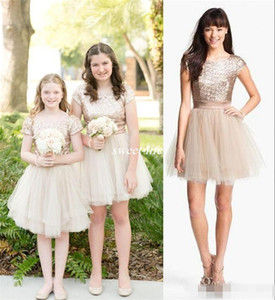 Rose Gold Sequins 2020 Junior Girls Dress Communion Gowns A Line Cap Sleeves Knee Length Tulle Wedding Kids Pageant Flower Girl Dresses