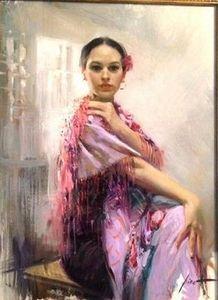 Girl In LILAC di Pino Daeni, dipinta a mano World Famous Impressionist Art Oil Painting su tela di alta qualità, misura personalizzata disponibile para
