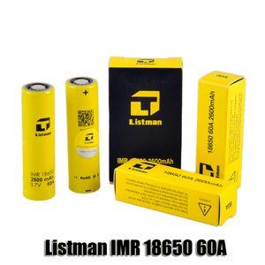 100% original Listman IMR 18650 2600mAh 60A 3.7V alta batería recargable del dren para 510 caja de rosca Mod